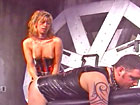 Latex Dominas give strapon blowjob training session