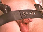 Male rubber slave` serious restraining and shaving
