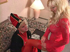 Mistress In Red Trampling Slave�s Face