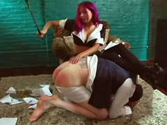 Mistress Punishes Slave Spanking His Ass