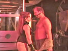Real femdom couple` whipping session in dungeon