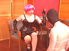 Smoking Mistress shaves male slave�s ass for fun