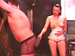 Spanking punishment for disobedient male slave