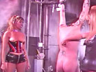 Totally restrained slave submitted for cock punishment
